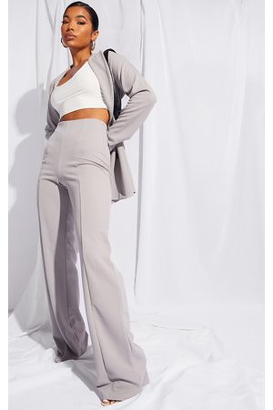 PRETTYLITTLETHING Grey Crepe Seam Front Wide Leg Trousers