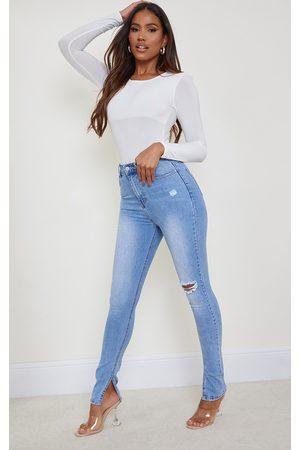 PRETTYLITTLETHING Light Wash Long Leg Split Hem Slim Fit Jean