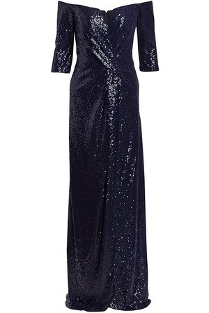 Rene Ruiz Collection Women's Three-Quarter Sleeve Sequin Column Gown - - Size 14