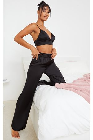 PRETTYLITTLETHING Satin Triangle Bralet And Pants PJ Set