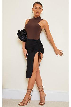 PRETTYLITTLETHING Slinky Ruched Side Split Midi Skirt