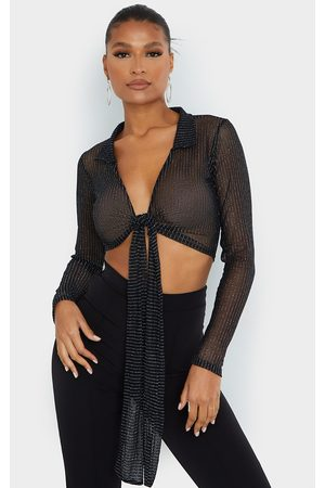 PRETTYLITTLETHING Sheer Glitter Tie Front Long Sleeve Cropped Shirt