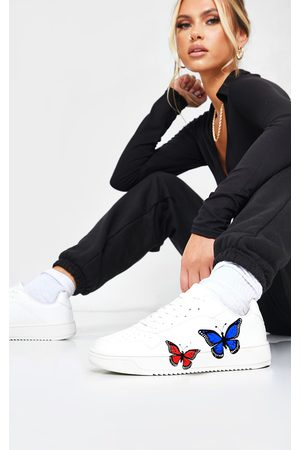 PRETTYLITTLETHING Pu Butterfly Detail Sneakers