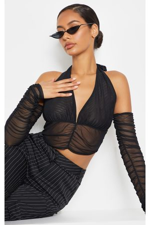 PRETTYLITTLETHING Mesh Halterneck Cold Shoulder Ruched Long Sleeve Crop Top