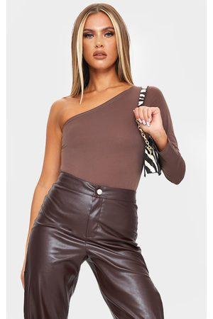 PRETTYLITTLETHING Chocolate Slinky One Shoulder Bodysuit