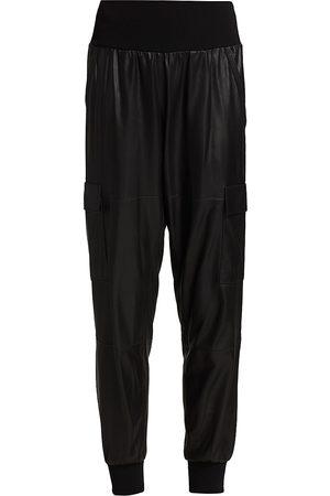 Cinq A Sept Women's Giles Leather Jogger Pants - - Size Large