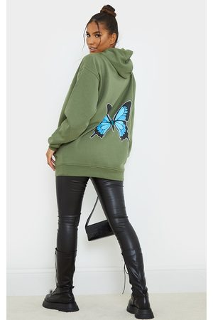 PRETTYLITTLETHING Khaki Butterfly Back Printed Hoodie