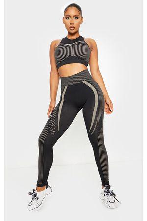 PRETTYLITTLETHING Contrast Stripe Seamless Gym Leggings