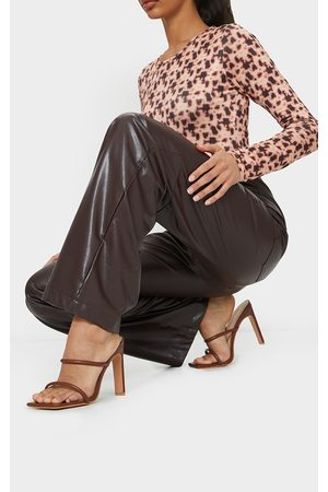 PRETTYLITTLETHING Chocolate PU Extreme Square Toe Twin Strap Mule High Heel