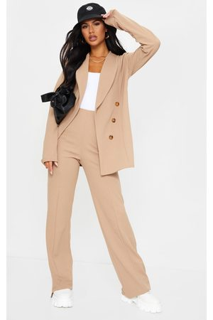 PRETTYLITTLETHING Camel Crepe Seam Front Wide Leg Pants