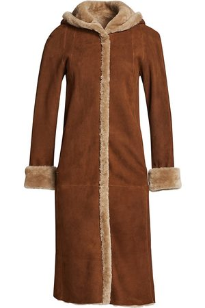 The Fur Salon Women's Hooded Shearling Jacket - - Size Large