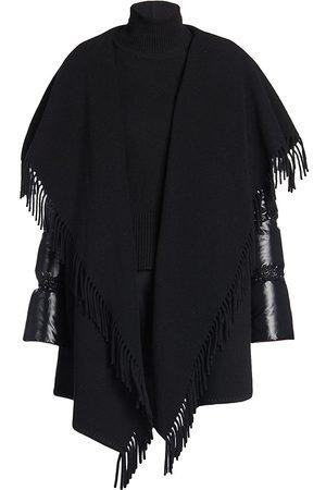 Moncler Women's Mantella Puffer-Sleeve Wool Cape - - Size Medium