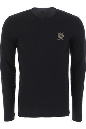 VERSACE Men Long sleeves - Men's Long-Sleeve Cotton Stretch Crewneck - Nero - Size Medium