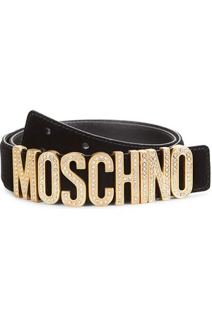 Moschino Men's Crystal-Embellished Logo Velvet Belt - - Size 58 (42)