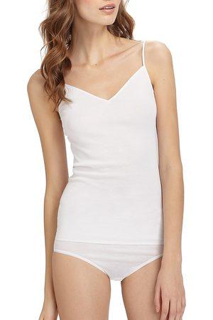 Hanro Women's Cotton Seamless V-Neck Spaghetti Camisole - - Size XS