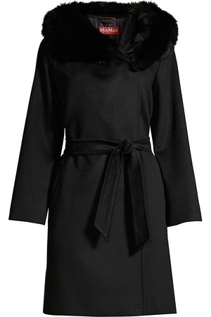 Max Mara Women's Fox Fur Trimmed Hooded Coat - - Size 8