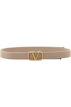 VALENTINO Men Belts - Men's V-Logo Buckle Belt - Ecru