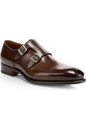 santoni Men's Ira Double Monk Strap Leather Loafers - - Size 13 D