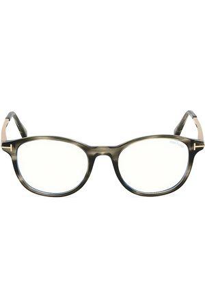 Tom Ford 50MM Block Round Eyeglasses - Dark Havana