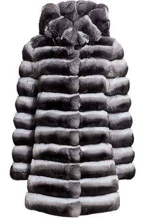 The Fur Salon Women's Hooded Sectioned Chinchilla Fur Coat - - Size Small