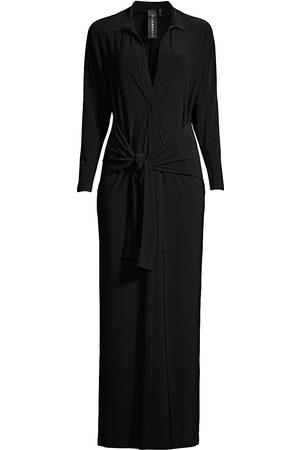 Norma Kamali Women's Long-Sleeve Knotted Shirtdress - - Size Medium