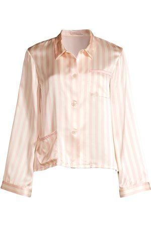 Morgan Lane Women Pajamas - Women's Ruthie Silk Striped Pajama Top - - Size Large