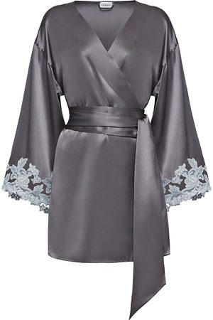 La Perla Women's Maison Lace Trim Silk Blend Robe - - Size Large