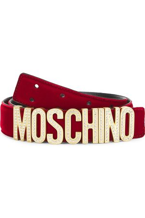 Moschino Men's Glitz Crystal-Embellished Logo Belt