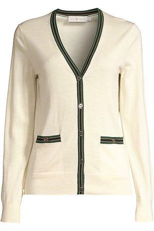 Tory Burch Women's Madeline Stripe-Trim Merino Wool Cardigan - - Size Medium