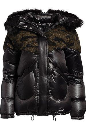Blanc Noir Women's Camo Faux Shearling & Faux Fur Puffer Coat - - Size Large