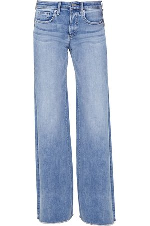 NYDJ Women's Teresa High-Rise Frayed Wide Jeans - - Size 12