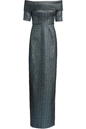 Teri Jon by Rickie Freeman Metallic Off-The-Shoulder Column Gown