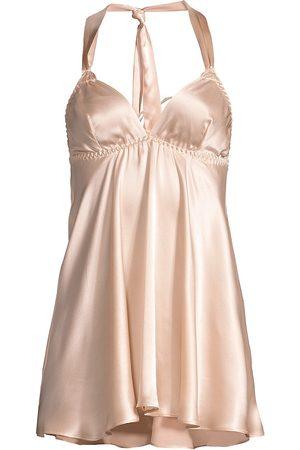 Gilda and Pearl Women's Mia Ostrich Feather-Trim Stretch-Silk Babydoll Slip Dress - - Size Small-Medium