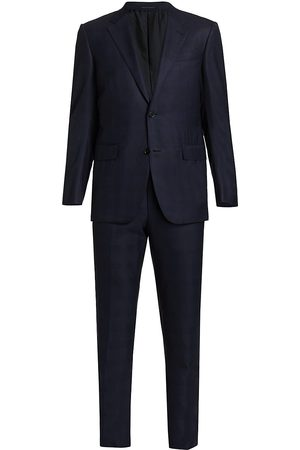 Ermenegildo Zegna Men's Solid Wool Textured Suit - - Size 58 (48) L