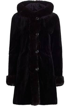 The Fur Salon Women's Reversible Sheared Mink Fur & Sable Fur-Trim Hooded Coat - - Size XL