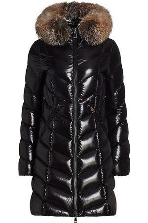 Moncler Women's Flumarus Lacque Fox Fur-Trim Quilted Down Coat - - Size XL