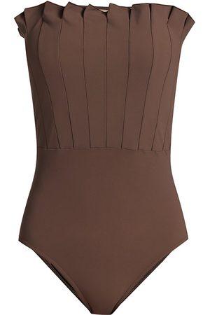 Karla Colletto Women's Lana Pleated Bandeau One-Piece Swimsuit - Mocha - Size 8