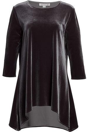 Caroline Rose Women's Stretch Velvet Draped Tunic - - Size Large