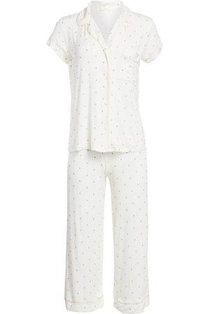 Eberjey Women's Giving Palm 2-Piece Cropped Pajama Set - - Size Medium