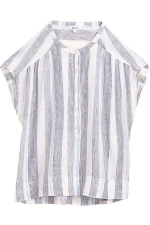 Splendid Women Sports T-shirts - Sea Stripe Linen-Blend Top