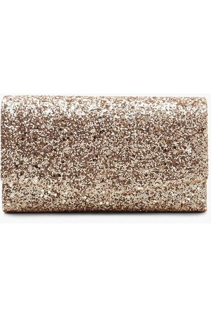 Boohoo Womens Structured Glitter Envelope Clutch Bag With Chain - - One Size