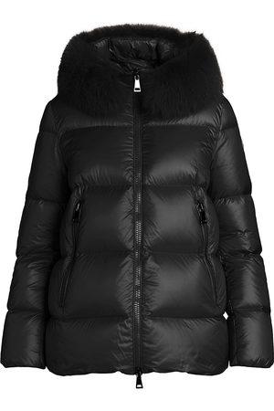 Moncler Women's Serifur Fox Fur-Trim Hood Quilted Down Jacket - - Size 0 (XS)