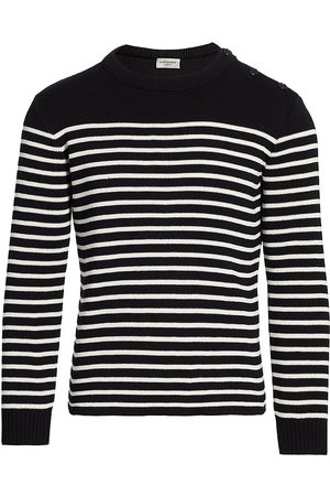Saint Laurent Men's Button-Shoulder Striped Sweater - - Size Large