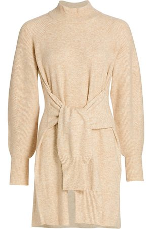 DH New York Women's Kate Tie-Front Balloon-Sleeve Sweater Dress - - Size Small