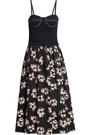 Marina Moscone Women's Smocked Cotton Bustier Midi Dress - - Size 0
