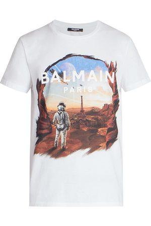 Balmain Men's Rubber-Print Logo T-Shirt - - Size Large
