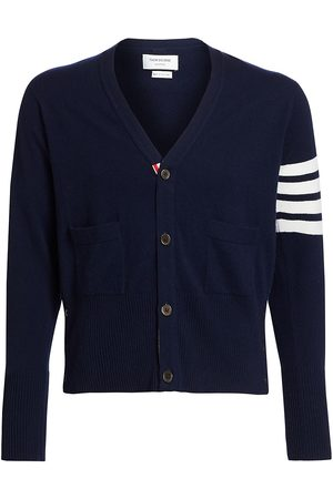 Thom Browne Men's Bar Striped Sleeve Cashmere Cardigan - - Size 4 (XL)