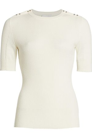 3.1 Phillip Lim Women's Buttoned Shoulder RIbbed Knit Top - - Size Large