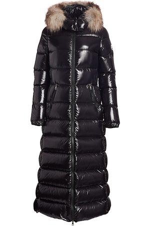 Moncler Women's Hudson Lacquer Fox Fur-Trim Puffer Coat - - Size XXL