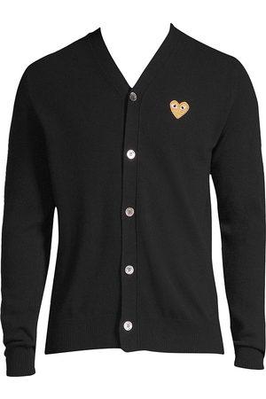 Comme des Garçons Men's Gold Heart Wool Cardigan - - Size XL